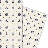 Maritimes Geschenkpapier Set (4 Bogen), Dekorpapier, Papier zum Einpacken mit Herz, Anker und Steuerrad, beige, für tolle Geschenk Verpackung und Überraschungen 32 x 48cm