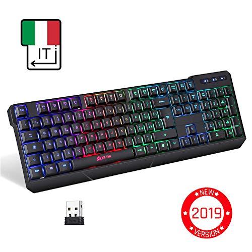 KLIMTM Chroma Tastiera Italiana per Gaming Wireless - Alte Performance - Colori da Videogioco e Retroilluminata - Tastiera da Gioco - Tastiera per Videogame, PC PS4 Windows, Mac - Nuova Versione 2019