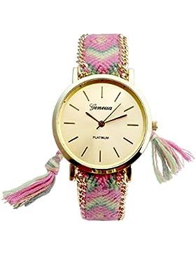 JSDDE Uhren,Genf Platinum Damen Ethnisch Blogger Hipster Vintage Uhr Braid Seil Band Analog Quarzuhr,Gruen+Pink