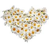 Akord - Lot de 100 Têtes de Fleurs artificielles Blanches Gerbera Daisy pour fête de Mariage, Bricolage. Plastique.