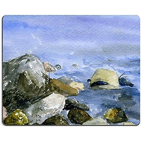 MSD Caucho Natural Gaming Mousepad imagen ID: 7386522de piedras en río Banco en acuarela