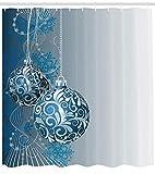 Abakuhaus Weihnachten Duschvorhang, Kugeln Wirbeln Motive, Klare Farben aus Stoff inkl.12 Haken Farbfest Schimmel und Wasser Resistent, 175 x 200 cm, Blau und weiß