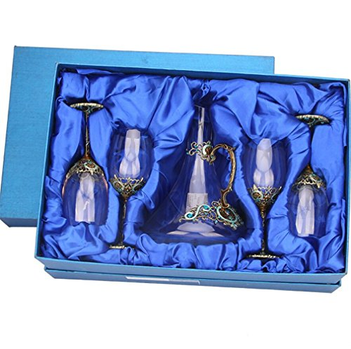 Emaille Glas Dekanter Set Kristall Glas Tasse Wasserkocher Set Whisky Wein Bourbon Brandy Likör...
