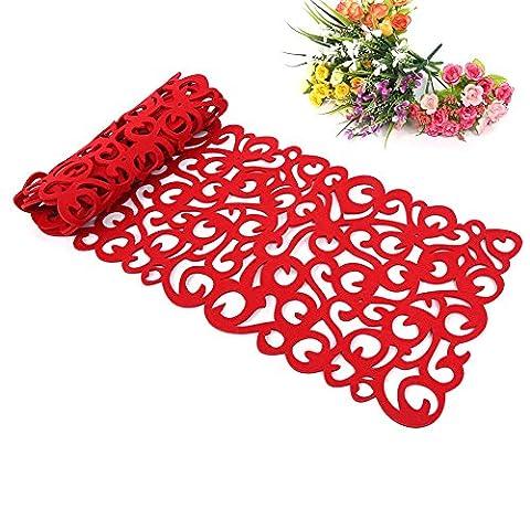 ZJchao Chemin de Table Design de Floraux Ajourés Napperon de Table Lavable pour la Décoration de Maison et Cuisine (100 x 30 cm) (Rouge)