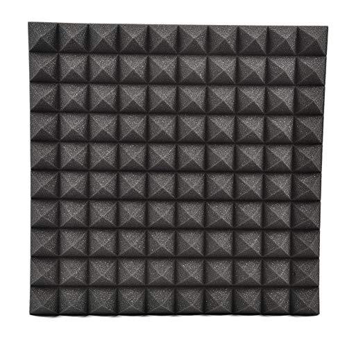 Coseyil Schaumstoff-Akustikpaneel, Akustikplatten, Schalldämmung, Pyramiden-Akustikplatten, DIY Wandsticker, Rauschunterdrückung, Wärmedämmung, 50 x 50 cm Schwarz