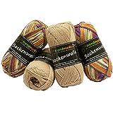 Wolle-Set-Mix ✓ beige lila 4fädig ✓ Woll-Paket insg. 200g ✓ 75% Schurwolle 25% Polyamid ✓ OEKO-TEX Standard100 Ökotex ✓ Socken-Wolle 4fach ✓ Stumpfwolle Strickwolle Mix Sparpaket | trendmarkt24 602032