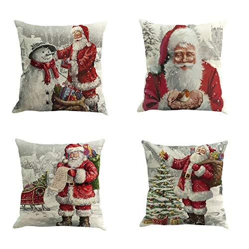 jimmackey 4pc natale federa pupazzo di neve decor letto auto cuscino copertina santa caso cuscini vita (a, 45cm*45cm/18*18)