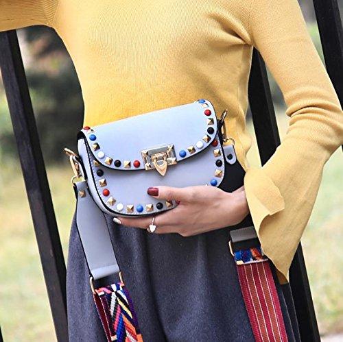 Frauen PU-Leder Intarsien Edelsteine Farb Rivet Einzelne Schulter-Umhängetasche Tasche Brown