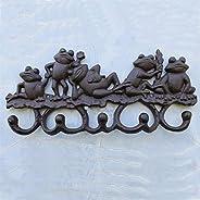 5 Frog Decor Coat Hook Vintage Wall Hanger Rustic Cast Iron Emboss Hanging Decorative 4 Hooks - Screws Include