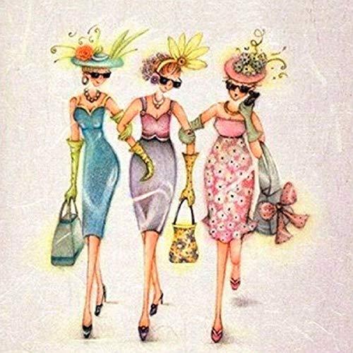 Adouftwo DIY Diamant Malerei Neue Frauen Kreuzstich Dress Up Fashion Girl Diamant Stickerei Volle Runde Mosaik Dekoration Aufkleber (Büchern Dress Up Aus Den Zeichen)