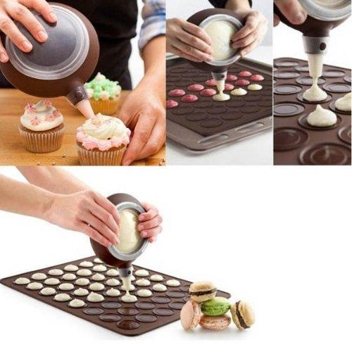 Keysui Macarons Set für Cup Cake Muffin Waffel Konditorwaren Sahnespritze + 48 Holes Fondant Backmatte Macaron Silikon Matte Kuchen