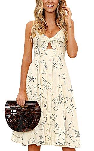 ECOWISH ECOWISH Damen V Ausschnitt A-Linie Kleid Träger Rückenfreies Kleider Sommerkleider Strandkleider Knielang 1603Beige S