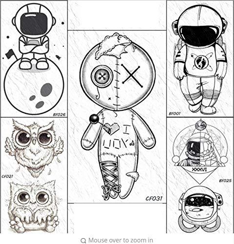 ruofengpuzi DIY Roboter Puppe Taste Temporäre Tätowierung Aufkleber Nähen Cartoon Gefälschte Tätowierung Spielzeug Körper Kunst Arm Cartoon Nette Schwarze Tätowierung