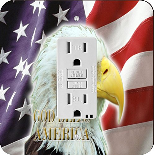 Rikki Knight American Flagge Adler Single GFI Lampe Switch - Adler-raum-dekor