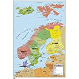 Close Up Karte von Skandinavien Poster Map of Scandinavia