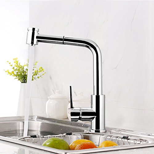 BATHWA Hochdruck Armatur 360° drehbar Ausziehbare Küchenarmatur mit herausziehbarem Auslauf Spültischarmatur