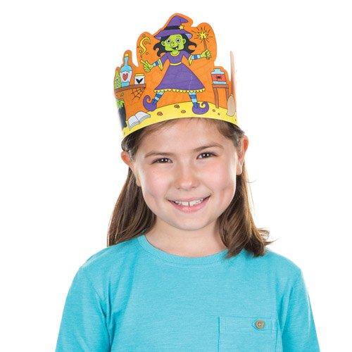 Kronen Zum Ausmalen Halloween für Kinder als Bastel- und Deko-Idee Zum Gestalten zu Halloween für Jungen und Mädchen (6 Stück)