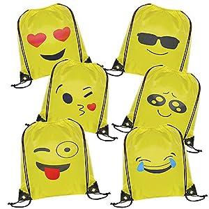 51sCQLP21%2BL. SS300  - WolinTek Emoji Bolsas de Cuerdas - 6 x Emoji Mochilas Petates Infantiles para niños y niñas Cumpleaños Regalos Invitados de Bodas Comuniones