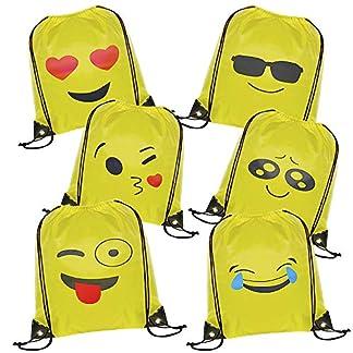 WOLINTEK Emoji Bolsas de Cuerdas – 6 x Emoji Mochilas Petates Infantiles para niños y niñas Cumpleaños Regalos Invitados de Bodas Comuniones