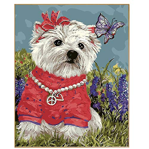 Diy bilder nach zahlen neue design leinwand digitale zeichnung färbung auf leinwand ölgemälde by zahlen niedlichen hund wand kunst