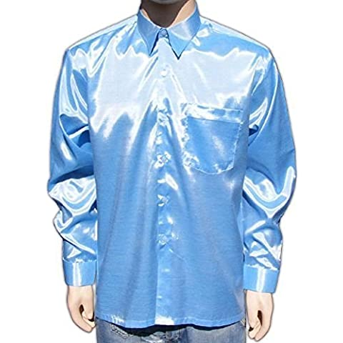 Camisa de colour azul claro (XXL) para hombre camisa de tela de satén brillante centro de