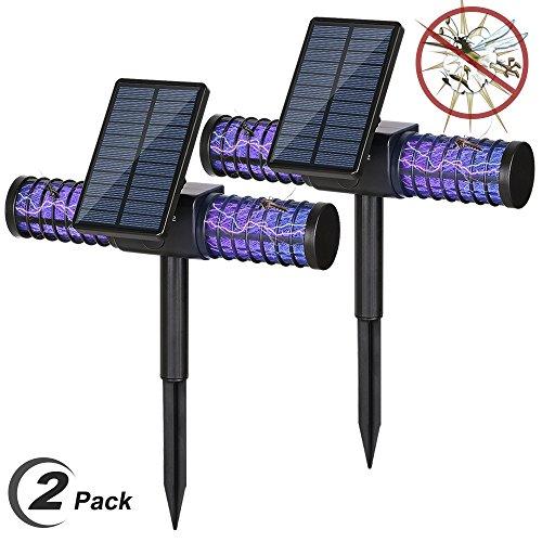 Solarleuchte Bug Zapper, Homecube 4 LED UV Outdoor Licht Insect Killer Zapper / Mosquito Killer / Fly Zapper kabellose Sicherheit Lampe mit USB-Ladeanschluss für Garten, Terrasse, Rasen, Home, kommerzielle Camping(2 packs) (Die Raid-killer)