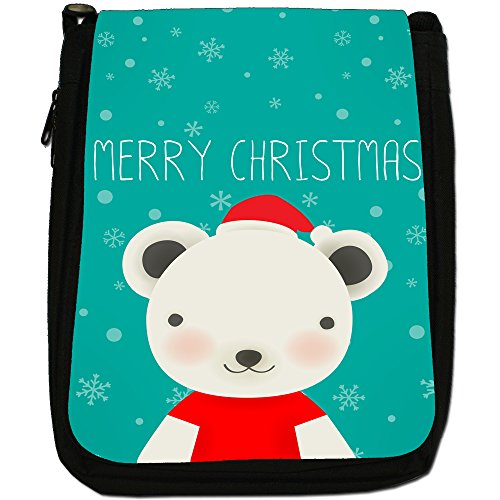Buon Natale fiocchi di neve Medium Nero Borsa In Tela, taglia M White Bear Dressed For Xmas