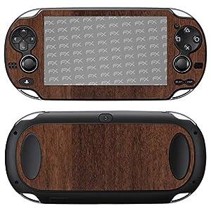 atFoliX Skin kompatibel mit Sony PlayStation Vita, Designfolie Sticker (FX-Wood-Teak), Holz-Struktur / Holz-Folie