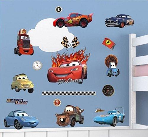Lightning McQueen und Freunde Autos Wandtattoo Zimmer Dekor. Bunte Wandaufkleber Aufkleber für ein Kinderzimmer. Fototapete Art Deco. Kinderzimmer Dekoration. Babyzimmer Aufkleber. Jungen Wandaufkleber