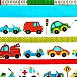 Auto Bunt 100% Baumwolle Baumwollstoff Kinder Kinderstoff Meterware Handwerken Nähen Stoff Tiermotiv 100x160cm 1 Meter (Auto Bunt)