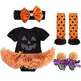 Agoky Baby Strampler Pyjama Halloween Kostüm Jumpsuit Spielanzug 4 tlg. Bekleidungssets Kleinkinder Festliche Kleidung Festzug Outfit 0-9 Monate Schwarz 3-6 Monate