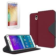 Galaxy Note 4Case, Cellto (piel sintética, soporte y Reversible solapa magnética [garantía de por vida] funda con tapa para Samsung Galaxy Note 4–Vino/Negro