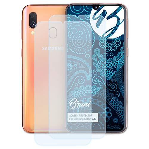 Bruni Schutzfolie für Samsung Galaxy A40 Folie, glasklare Displayschutzfolie (2X)