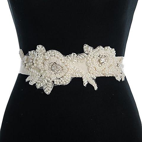 Ulapan Femme Perles Bridal Sash Mariage Ceinture ceintures de mariage de mariage Détails nœuds - rose - Taille unique