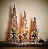 Weihnachtsdeko Fenster beleuchtet Silbernes 3er Set Weihnachtsbeleuchtung je 20 LED warmweiß Rattan Weihnachtsdeko - 3 hochwertige Rattan Kegel mit Dekoration und integrierter LED Beleuchtung in warmweiß - mit praktichem Timer für automatisches Anschalten zu festgelegter Zeit, auto aus nach 6 Stunden - tolle warmweiße LED Weihnachtdeko beleuchtet