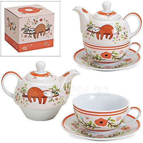 matches21 Tea4One Tee Geschenkset Motiv: Faultier & Blumen rosa inkl Teekanne, Tasse und Unterteller im Geschenkkarton