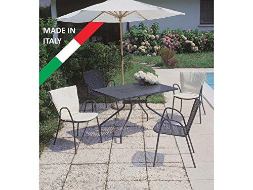Set classique table été 120 x 80 avec 4 chaises métal anthracite pour extérieur jardin terrasse