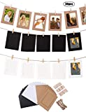 "Hanlianwen 30Pcs DIY Kraft Paper Photo Frames Cardboard Picture frame Fits 4""x6"" Wall Decor with Clothespins and Rope for Christmas Home Office Dorm Room College Decorations"