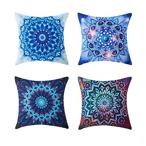 Topfinel 4er Set Kissenbezüge aus Segeltuch Drucken Indischer Stil Kissen Dekorative Kissenhülle für Sofa 45 x 45cm Serie