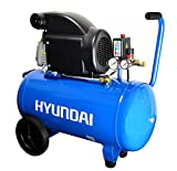HYUNDAI Kompressor AC5001E (Druckluftkompressor mit 50 Liter Druckbehälter, ölgeschmiert, Betriebsdruck 8 bar, Motorleistung 1.5 kW (2.0 PS), 2 Schnellkupplungen, Ansaugleistung 206 L/Min)