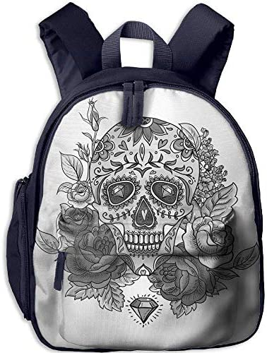 Teen's Boy's&Girl's School Backpack     Pocket Sugar Skull Decor Monochrome Skull Roses Leaves and Diamond Shape Folklore Festival Decorative Grey Black White B07MBHV22J   Outlet Online Store  cab1d2