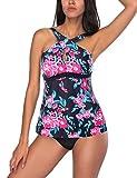 FeelinGirl Damen herausnehmbaren Gepolstert Triangel Bikini Rücken-Verschluss Bademode Tankini Badeanzug Bügelbikini