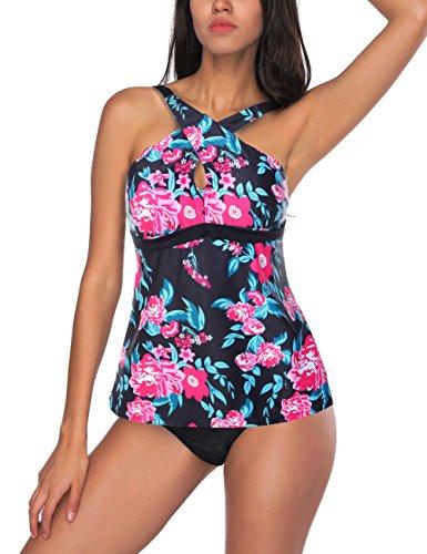 FeelinGirl Cintura Media Floral Conjunto de Bañador Bikini para Mujer (XXL(ES 46-48), Negro-Azul)