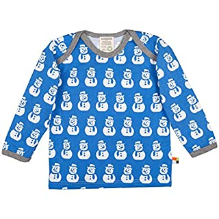 loud + proud Baby Langarm Shirt mit aufgedruckten Schneemännern (Wasserbasierender Druck). Bio Baumwiolle. GOTS Zertifiziert, Ice, 110/116