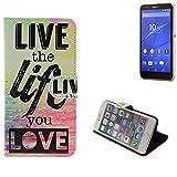 K-S-Trade 360° Wallet Case protective cover für Sony Xperia E4, live the life you love