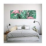 LB Plantes Tropicales,Feuilles de Palmier,Flamant Rose,Blanc,Vert,Rose_Art Mural Peinture à l'huile Photo Impression sur Toile décoration de la Maison,3 Panneaux,40 x 40 cm,sans Cadre
