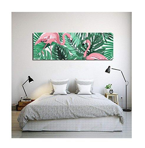 Plantas tropicales,hojas de palma,flamenco,blanco,verde,rosa_Cuadro de pintura al óleo moderna Impresión de la imagen en la lona Arte de la pared para la sala de estar,Dormitorio,decoración del hogar,3 piezas 40x40,con marco