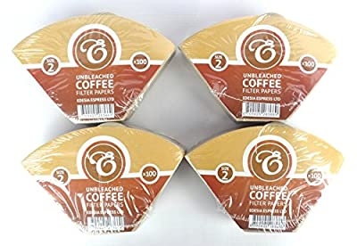400 Size 2 Coffee Filter Paper Cones, Unbleached by EDESIA ESPRESS