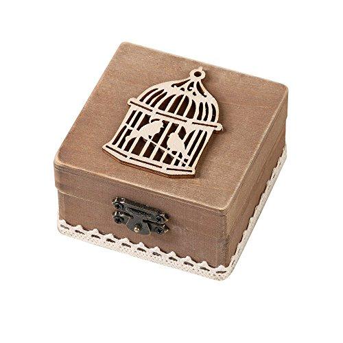 FiedFikt Hochzeitsring Box Kissen Träger Holz Ringhalter Retro Schmuck Box Schmuck Organizer Hochzeit Zubehör Hochzeit Dekoration B -