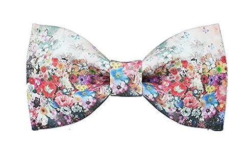 Conception Cravate Diverses Fleurs Textile Printing Noeud Papillon£¨Rouge Roseo Ciel Bleu)